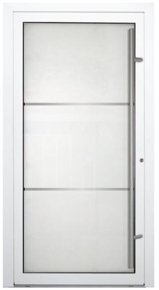 Aluminium Haustür P Glas703 weiß Stoßgriff 1600 mm